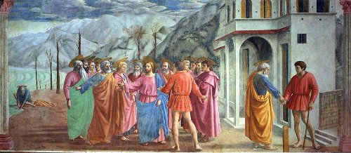 Tribute Money painting by Masaccio, 1425