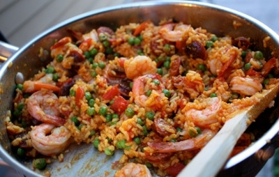 Shrimp Chorizo Paella one skillet meals bachelor