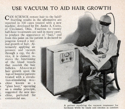 vintage ad advertisement baldness cure vacuum