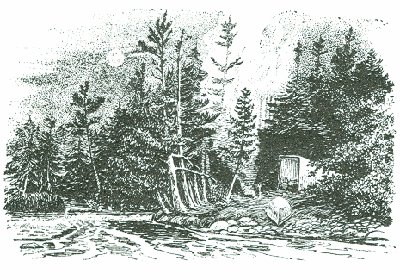 outdoor drawing engraving camp by river in woods