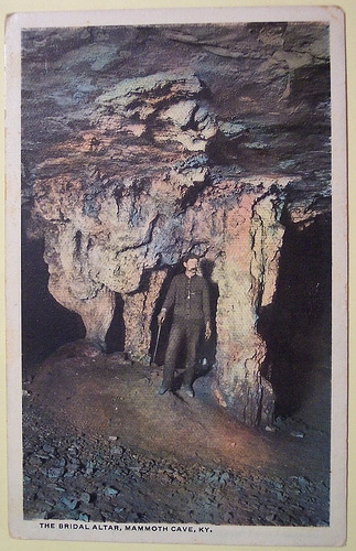 Vintage mammoth cave postcard caver spelunking.
