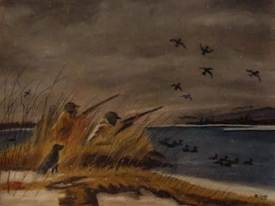 Painting men duck hunting early morning with dog