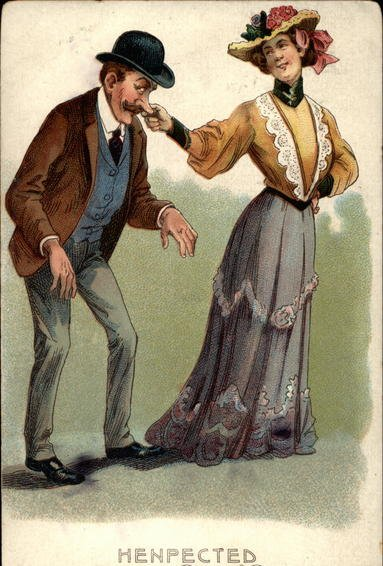 Vintage Victorian painting illustration in which woman leading man.