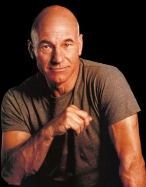 patrick stewart portrait posing with t-shirt bald head