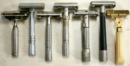 collection of vintage safety razors gillette schick