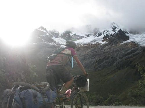 bike rider in mountains pass riding the spine route