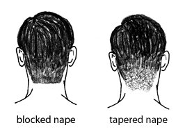 barber haircut nape blocked vs tapered illustration diagram
