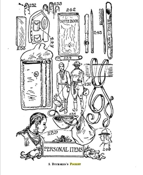 Illustration of boy scout camping guide about personal items.