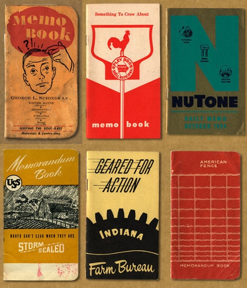 Vintage collection of field notes for pocket notebooks.