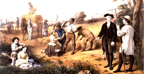 Painting of colonial america interacting with slaves.