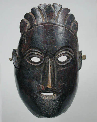 vintage african tribal mask dark wood