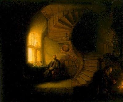 philosopher in meditation rembrandt painting