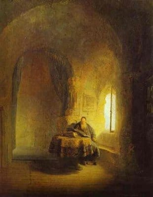 philosopher reading rembrandt painting baroque era