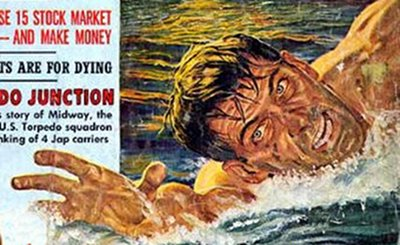 Vintage adventure magazine cover in which man swimming in riptide.