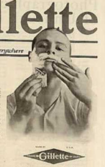 Vintage young boy shaving with Gillette razor ad advertisement.
