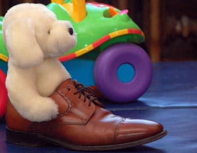 Dress Shoes with Toy stuffed animal in oxfords