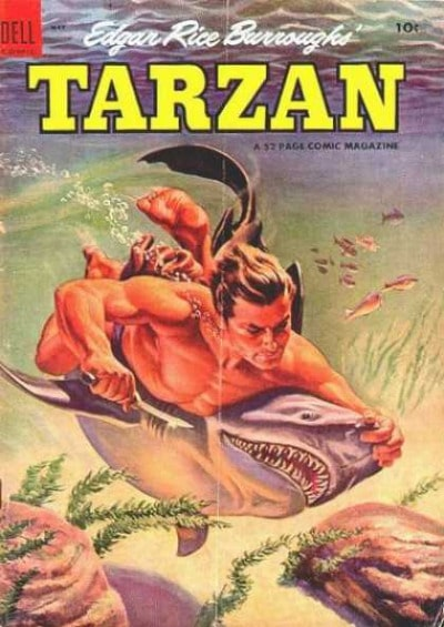 tarzan comic cover fighting shark edgar rice burroughs