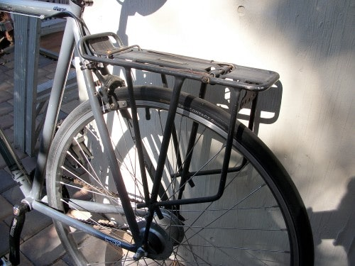 rack on rear of bike bicycle for touring long ride
