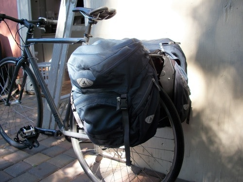 backpacks on bike bicycle for long touring ride