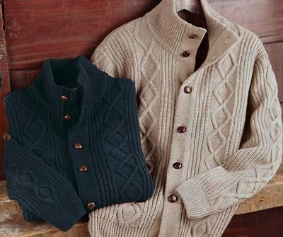 Cable Knit Cardigan sweaters examples men's style