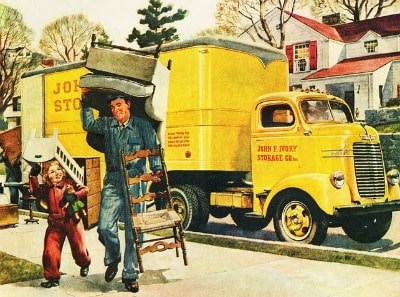 vintage moving man truck poster furniture