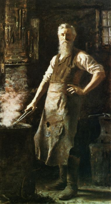 vintage painting portrait blacksmith in apron with tools