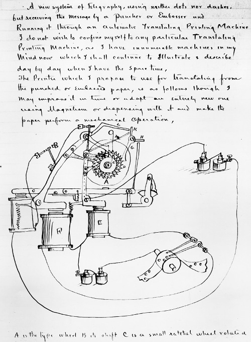 Thomas Edison notebook about machine working process.