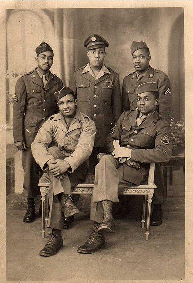 vintage african american friends military uniform