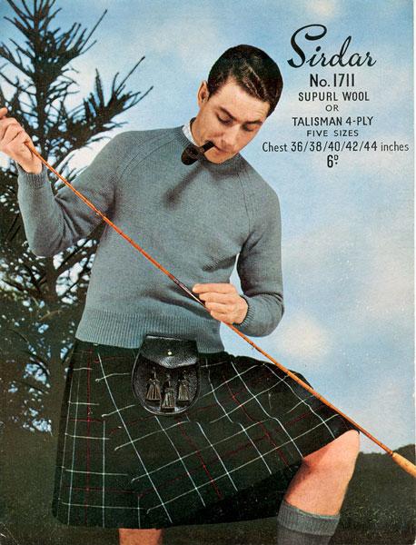 sirdar sweater vintage ad advertisement man wearing kilt