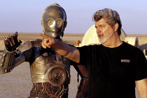 George Lucas playing role of director in film.