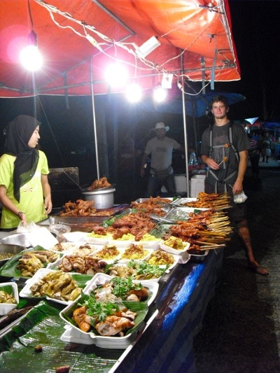 asian street market food buffet of meat veggies