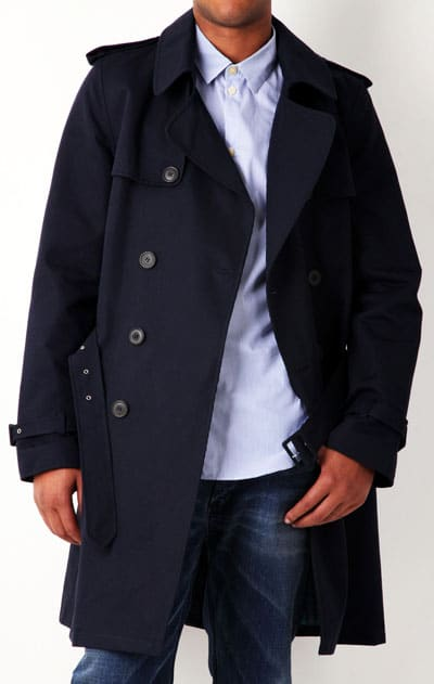 navy blue trench coat men's style fashion