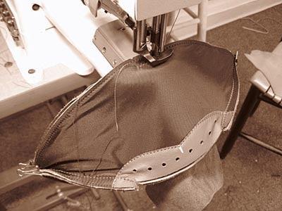 industrial sewing machine making footballs