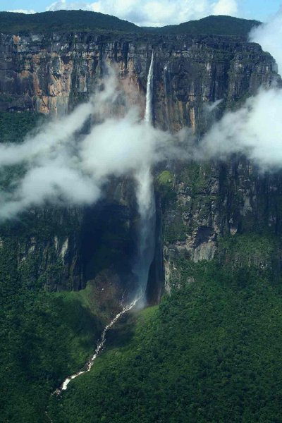 angel falls venezuela clouds in front