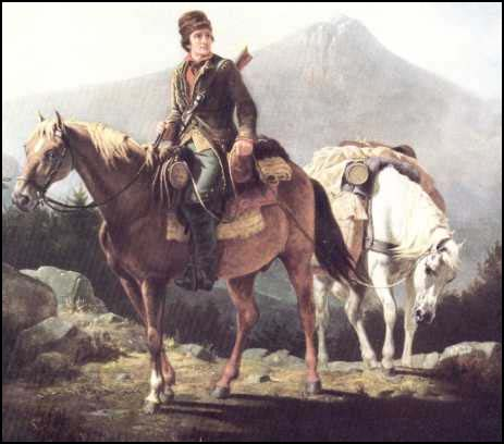 Young Daniel Boone doing horse riding on the mountain.