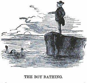 Man pointing towards a drowning boy standing at the edge of a cliff near ocean.