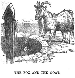 The goat watching the fox trapped into the well.