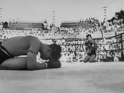 vintage muy thai match fight fighters kneeling