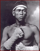 vintage muy thai fighter portrait taped hands