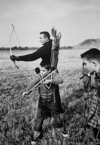 vintage dad and sons archery bow and arrow shooting