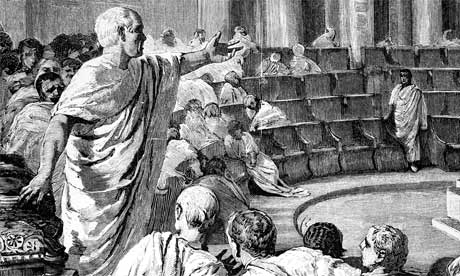 Cicero giving speech in front of people.