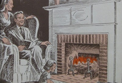 vintage drawing painting man woman sitting near fireplace