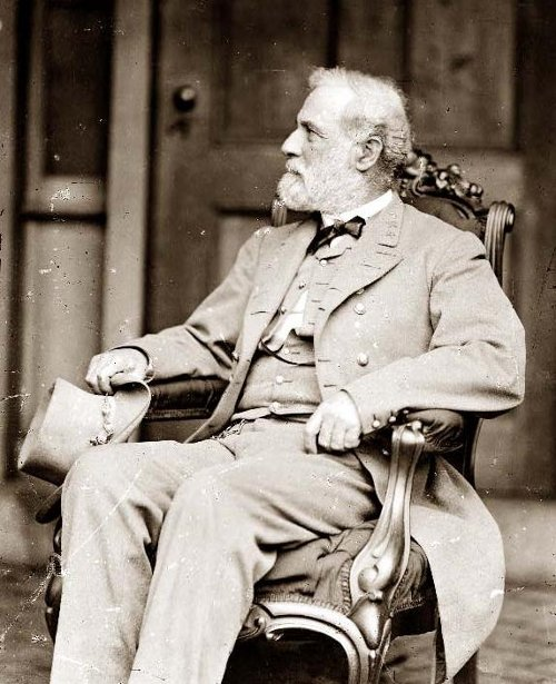 robert e lee sitting in rocking chair suit hat