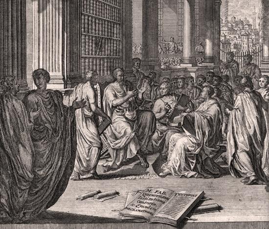 Ancient Greek party debating on Philosophy.