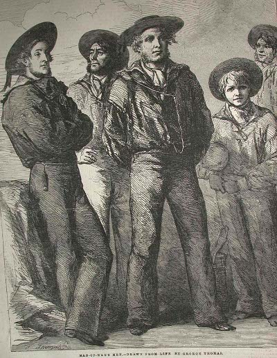 vintage group of sailors drawing engraving