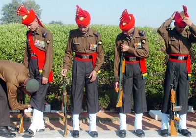 Indian Army soldiers 54th Infantry tucking socks trousers
