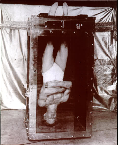 harry houdini postcard upside down in water torture cell