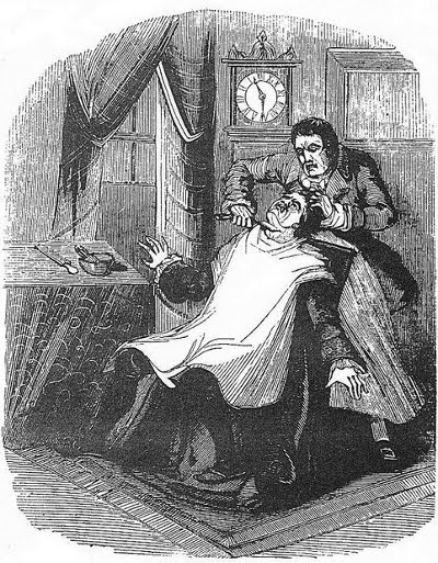 straight razor shave murder engraving illustration