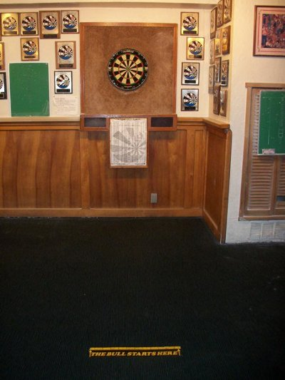 A room full of dart boards.