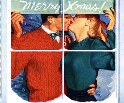 vintage couple kissing illustration merry xmas card